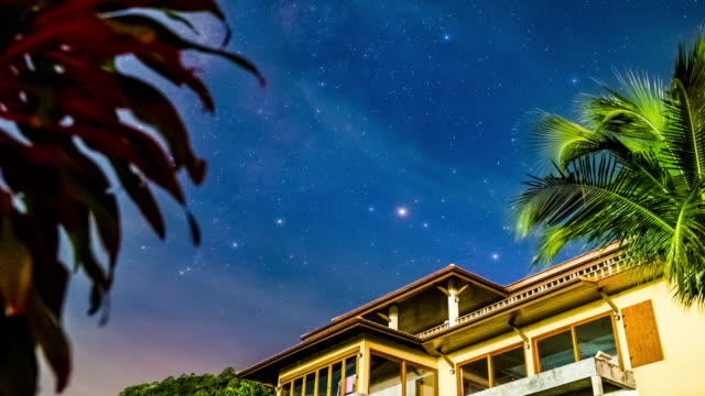 Stars over the house time lapse 4K video