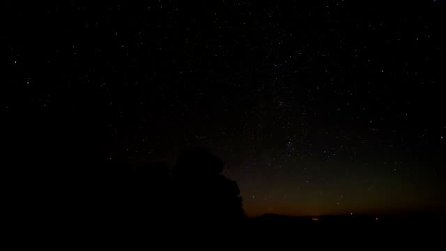 Starscape and Moonrise Moving Time-Lapse Over Idaho Lava Rocks video