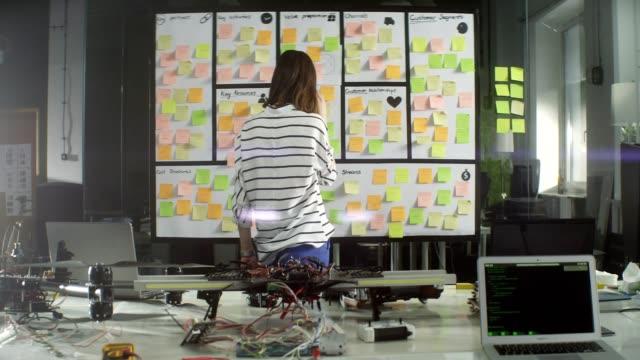 startup-företag. tänkande av lösningen framför styrelsen - beslutsamhet bildbanksvideor och videomaterial från bakom kulisserna