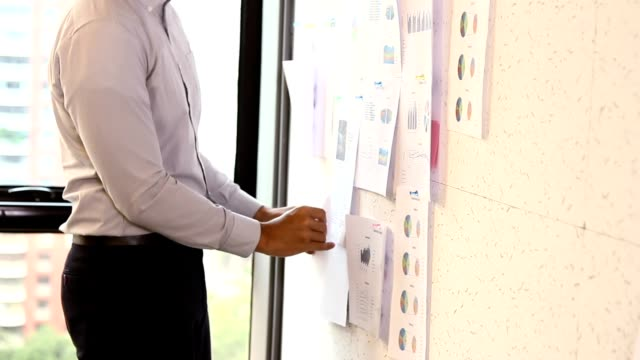 Start-up Meetings : Businessman take a planning and appointment on sticky notes. video