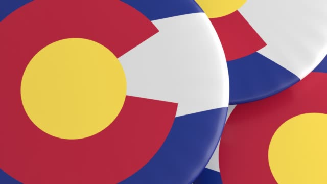 US State Buttons: Pile of Colorado Flag Badges, Focus And Zoom Out US State Buttons: Pile of Colorado Flag Badges, Focus And Zoom Out souvenir stock videos & royalty-free footage