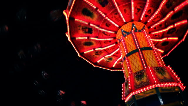 State Fair Carousel Swing Spins at Night video