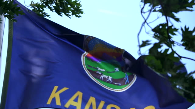 State Flag of Kansas waving in the breeze - 4k/UHD video