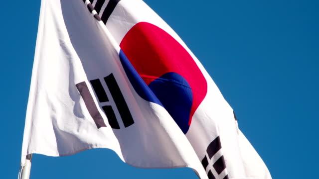 kore devlet bayrağı - güney kore stok videoları ve detay görüntü çekimi