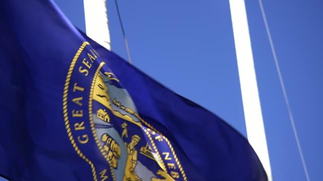 State Flag of Nebraska waving in the breeze - 4k/UHD