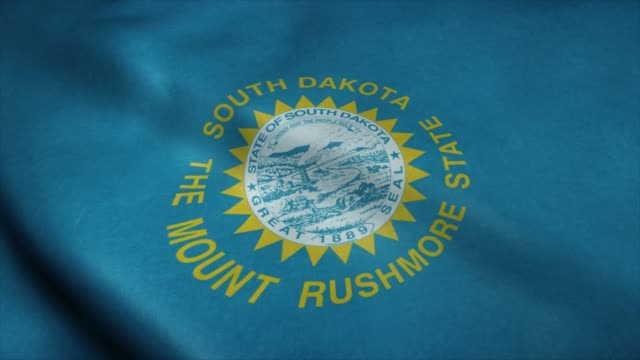 State flag of South Dakota waving in the wind. Seamless loop with highly detailed fabric texture