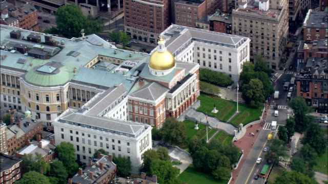 State House  - Aerial View - Massachusetts,  Suffolk County,  United States video