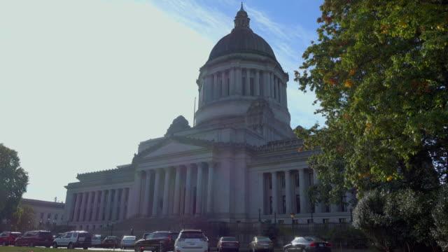 wa state legislative building seitenwinkel - kapitell stock-videos und b-roll-filmmaterial