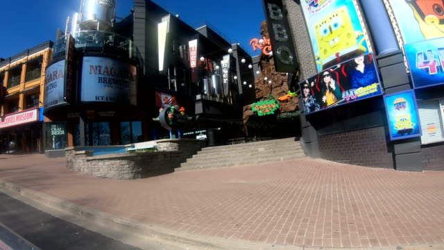 State of emergency  during Coronavirus ,The streets of Niagara Falls are empty. - video