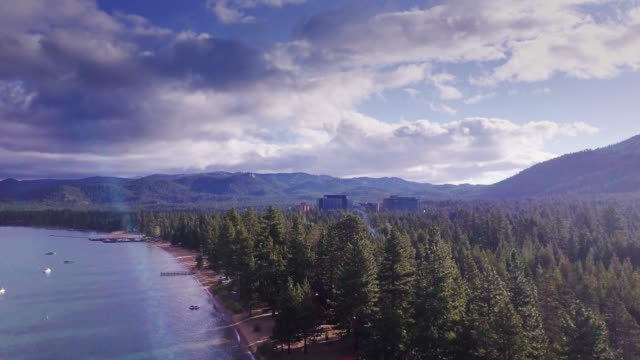 Stateline Casinos and the Shore of Lake Tahoe - Aerial View - vídeo