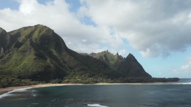 Static aerial drone shot of Tunnels Beach on the north shore of Kauai in Hawaii - video