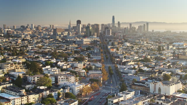 Static Aerial Shot of San Francisco from Above The Castro at Sunrise video