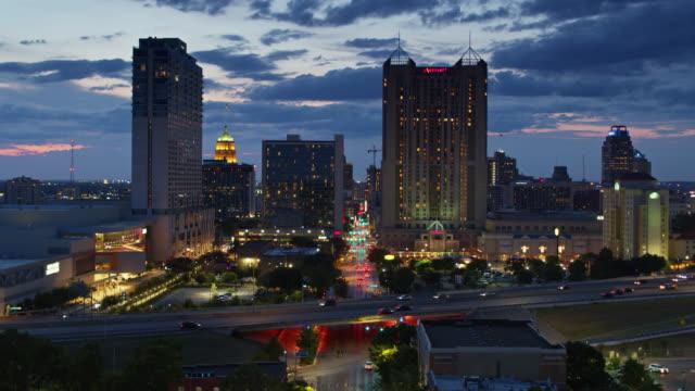 static drone shot looking down commerce street, san antonio, texas - san antonio texas stock videos & royalty-free footage