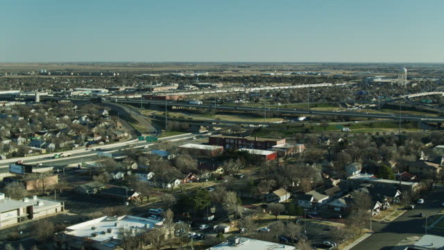 Static Drone Shot of Residential Neighborhood and Freeway in Amarillo, Texas video