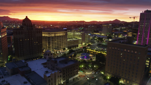 Static Drone Shot of San Jacinto Square, El Paso at Dusk video