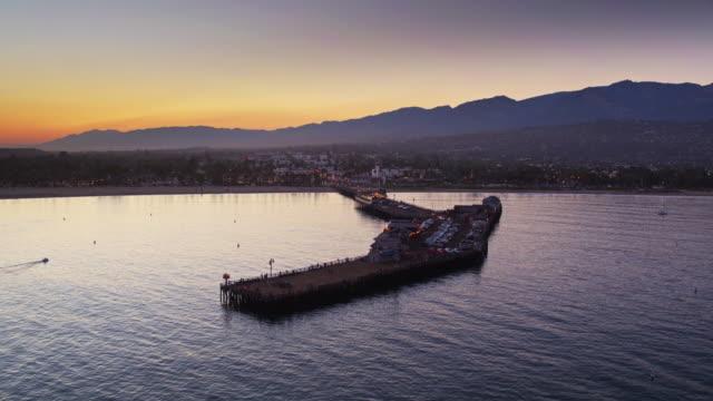Static Drone Shot of Stearns Wharf, Santa Barbara video