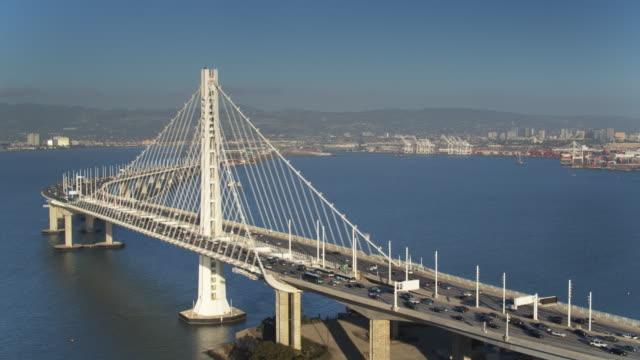 Static Drone Shot of the Bay Bridge and Oakland, California video
