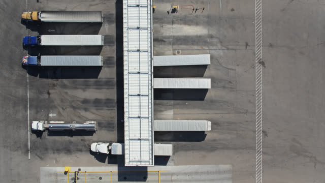 Static Drone Shot of Truck Stop