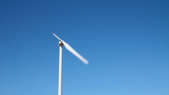 Static shot of a single blade wind turbine video