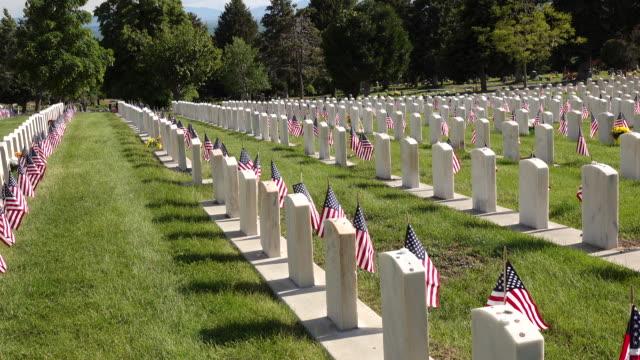 vídeos y material grabado en eventos de stock de disparo estático de lápidas militares - memorial day