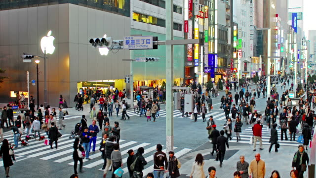 Static time-lapse shot of Ginza in Tokyo video