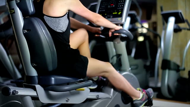 Stationary Bike Ride In Gym video