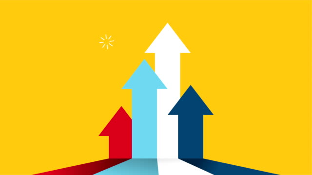 statistics arrows bars success animation video