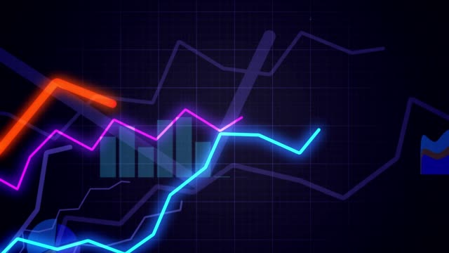 Statistics concept. Camera moves above growing financial charts and diagrams. Looping animation. video