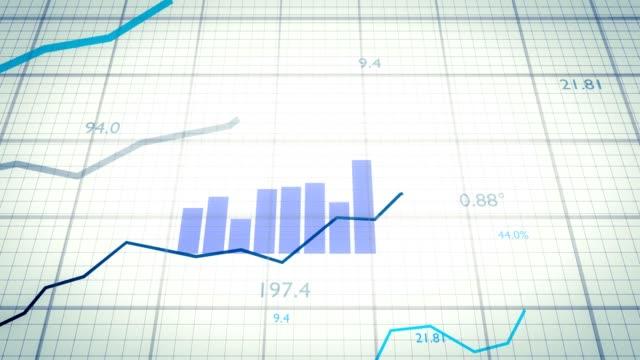 stockvideo's en b-roll-footage met statistieken concept. groeiende financiële grafieken en diagrammen weergegeven: verhoging van de winst. - bedrijfsstrategie