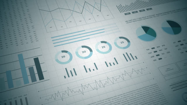 Statistics, financial market data, analysis and reports, numbers and graphs. video