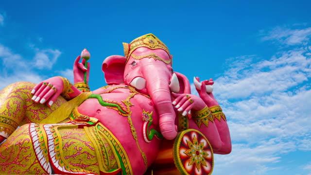 statue Ganesha wat saman big beautiful pink Chachoengsao, Thailand. video
