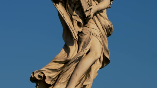 Statue of angel at Sant Angelo bridge in Rome, Italy, video