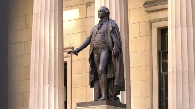 Statue of George Washington Statue of George Washington at Wall Street New York statue stock videos & royalty-free footage
