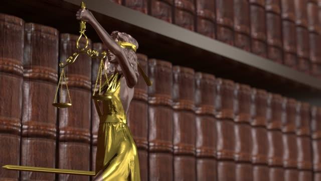vídeos y material grabado en eventos de stock de estatua de la justicia, themis, femida con escamas y una espada en sus manos. renderizado 3d. - civil rights