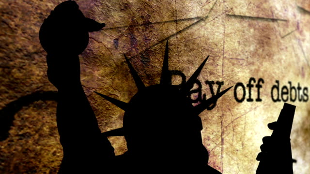 Statue of liberty against pay off debt background video