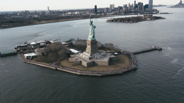 Statue of Liberty amidst Hudson river in New York