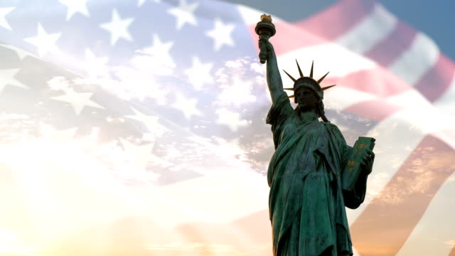 Statue of liberty and American flag waving with copyspace, double exposure video