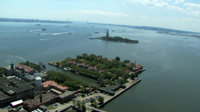 statue of liberty and hudson river video