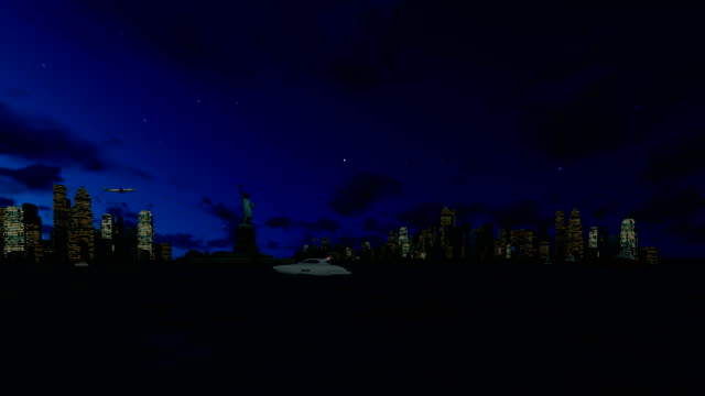 Statue of Liberty and Manhattan at night, New York City against starry sky, 4K