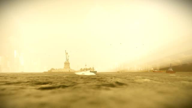 Statue of Liberty and Manhattan, New York City, morning fog, 4K