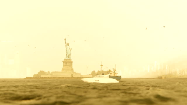 Statue of Liberty and Manhattan, New York City, morning fog