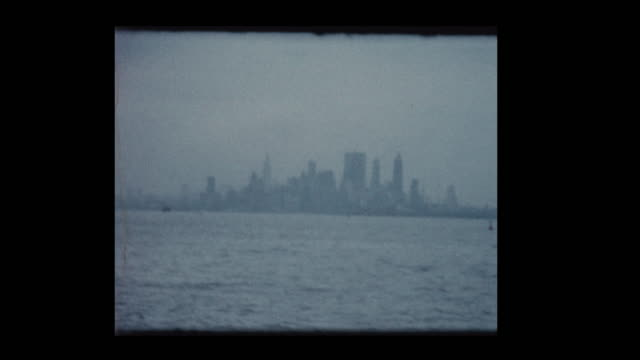 Statue of Liberty and New York City skyline 1961 from ferry boat video