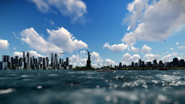 Statue of Liberty and ships sailing, Manhattan, New York City against blue sky, 4K