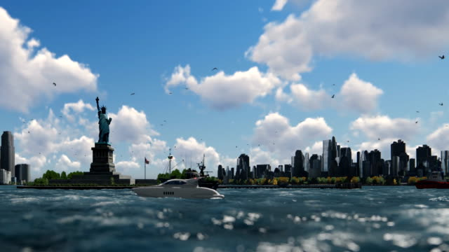 Statue of Liberty and ships sailing, Manhattan, New York City against blue sky