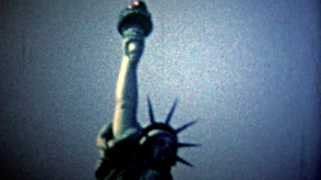 NEW YORK CITY - 1954: Statue of Liberty and the New York City skyline view. video