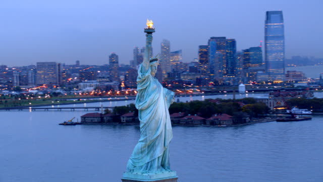 Statue of Liberty at dusk video