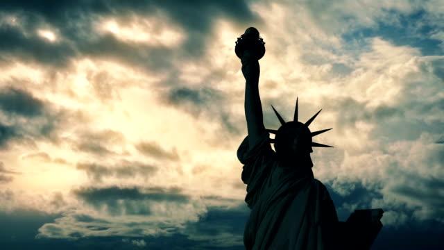 Statue Of Liberty Dark On Sunset video