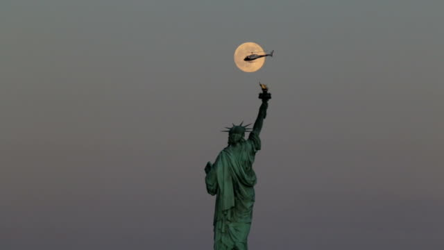 Statue of Liberty, Full Moon and a Helicopter