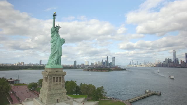 Statue of Liberty New York City Aerial 4K Drone
