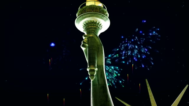 Statue of Liberty, New York city, firework display video